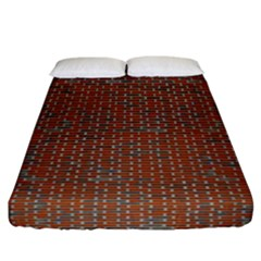 Brick Wall Brown Line Fitted Sheet (california King Size)