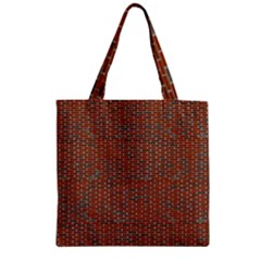 Brick Wall Brown Line Zipper Grocery Tote Bag
