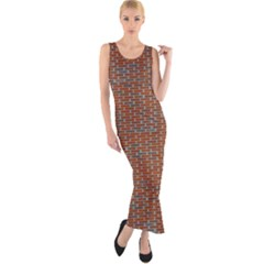 Brick Wall Brown Line Fitted Maxi Dress