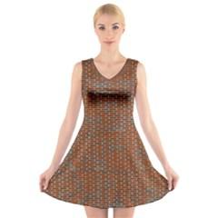 Brick Wall Brown Line V Neck Sleeveless Skater Dress