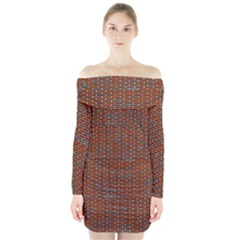 Brick Wall Brown Line Long Sleeve Off Shoulder Dress