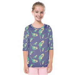 Canaries Budgie Pattern Bird Animals Cute Kids  Quarter Sleeve Raglan Tee