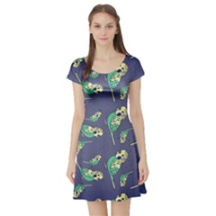Canaries Budgie Pattern Bird Animals Cute Short Sleeve Skater Dress