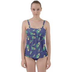 Canaries Budgie Pattern Bird Animals Cute Twist Front Tankini Set