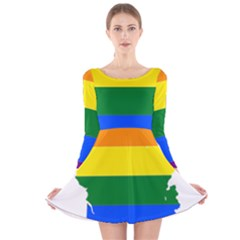 Flag Map Stripes Line Colorful Long Sleeve Velvet Skater Dress