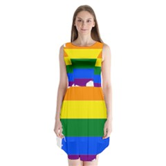 Flag Map Stripes Line Colorful Sleeveless Chiffon Dress