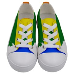 Flag Map Stripes Line Colorful Kids  Low Top Canvas Sneakers