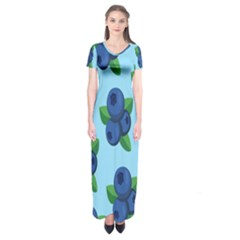 Fruit Nordic Grapes Green Blue Short Sleeve Maxi Dress