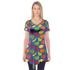 Fruit Melon Cherry Apple Strawberry Banana Apple Short Sleeve Tunic