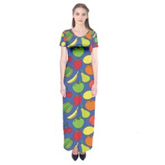 Fruit Melon Cherry Apple Strawberry Banana Apple Short Sleeve Maxi Dress