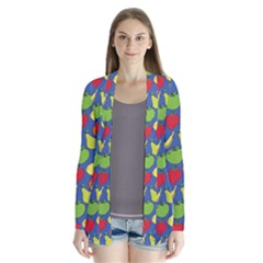 Fruit Melon Cherry Apple Strawberry Banana Apple Drape Collar Cardigan
