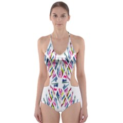 Free Symbol Hands Cut Out One Piece Swimsuit
