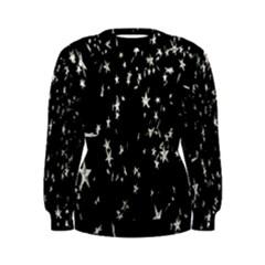 Falling Spinning Silver Stars Space White Black Women s Sweatshirt