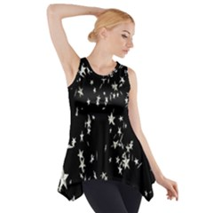 Falling Spinning Silver Stars Space White Black Side Drop Tank Tunic