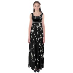 Falling Spinning Silver Stars Space White Black Empire Waist Maxi Dress