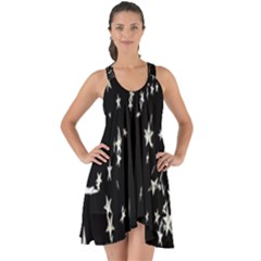 Falling Spinning Silver Stars Space White Black Show Some Back Chiffon Dress