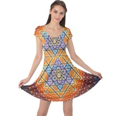 Cosmik Triangle Space Rainbow Light Blue Gold Orange Cap Sleeve Dress