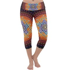 Cosmik Triangle Space Rainbow Light Blue Gold Orange Capri Yoga Leggings