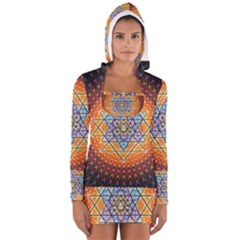 Cosmik Triangle Space Rainbow Light Blue Gold Orange Long Sleeve Hooded T Shirt