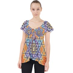 Cosmik Triangle Space Rainbow Light Blue Gold Orange Lace Front Dolly Top