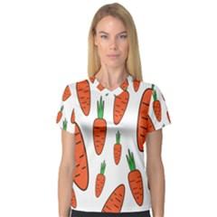 Fruit Vegetable Carrots V Neck Sport Mesh Tee