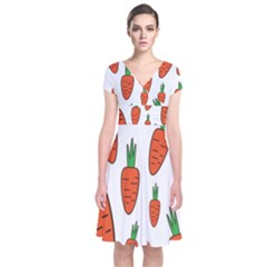 Fruit Vegetable Carrots Short Sleeve Front Wrap Dress