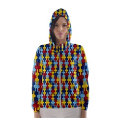 Fuzzle Red Blue Yellow Colorful Hooded Wind Breaker (women)