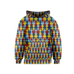 Fuzzle Red Blue Yellow Colorful Kids  Pullover Hoodie