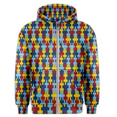 Fuzzle Red Blue Yellow Colorful Men s Zipper Hoodie