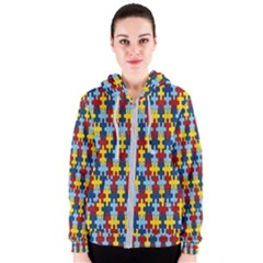 Fuzzle Red Blue Yellow Colorful Women s Zipper Hoodie
