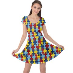 Fuzzle Red Blue Yellow Colorful Cap Sleeve Dress