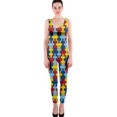 Fuzzle Red Blue Yellow Colorful Onepiece Catsuit