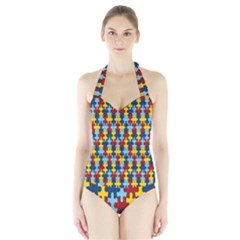 Fuzzle Red Blue Yellow Colorful Halter Swimsuit
