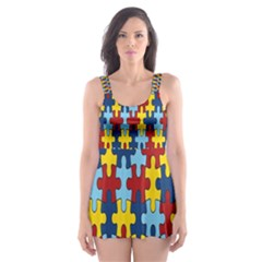 Fuzzle Red Blue Yellow Colorful Skater Dress Swimsuit