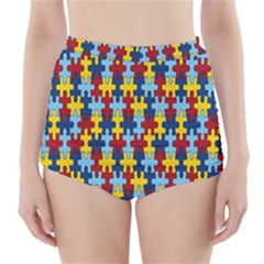 Fuzzle Red Blue Yellow Colorful High Waisted Bikini Bottoms