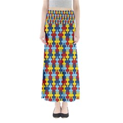 Fuzzle Red Blue Yellow Colorful Full Length Maxi Skirt