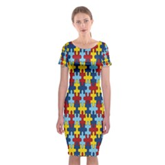 Fuzzle Red Blue Yellow Colorful Classic Short Sleeve Midi Dress