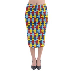 Fuzzle Red Blue Yellow Colorful Midi Pencil Skirt