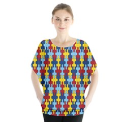 Fuzzle Red Blue Yellow Colorful Blouse