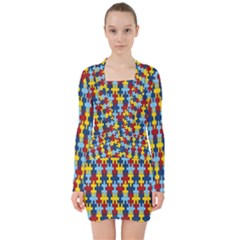 Fuzzle Red Blue Yellow Colorful V Neck Bodycon Long Sleeve Dress