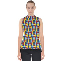 Fuzzle Red Blue Yellow Colorful Shell Top