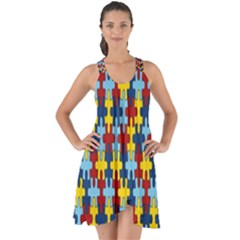 Fuzzle Red Blue Yellow Colorful Show Some Back Chiffon Dress