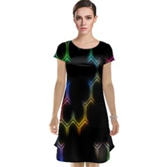 Grid Light Colorful Bright Ultra Cap Sleeve Nightdress