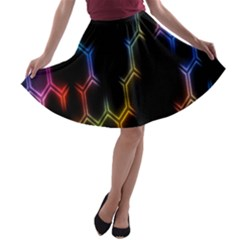 Grid Light Colorful Bright Ultra A Line Skater Skirt