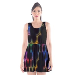 Grid Light Colorful Bright Ultra Scoop Neck Skater Dress