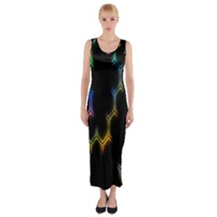 Grid Light Colorful Bright Ultra Fitted Maxi Dress