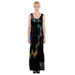 Grid Light Colorful Bright Ultra Maxi Thigh Split Dress