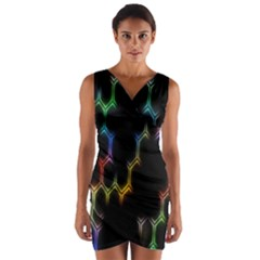 Grid Light Colorful Bright Ultra Wrap Front Bodycon Dress