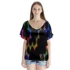Grid Light Colorful Bright Ultra V Neck Flutter Sleeve Top