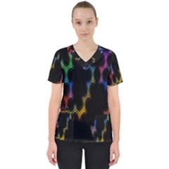 Grid Light Colorful Bright Ultra Scrub Top